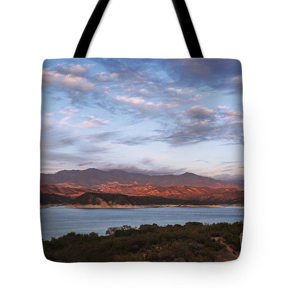 Cachuma Lake Tote Bag featuring the photograph Sunset At Cachuma Lake by Yefim Bam