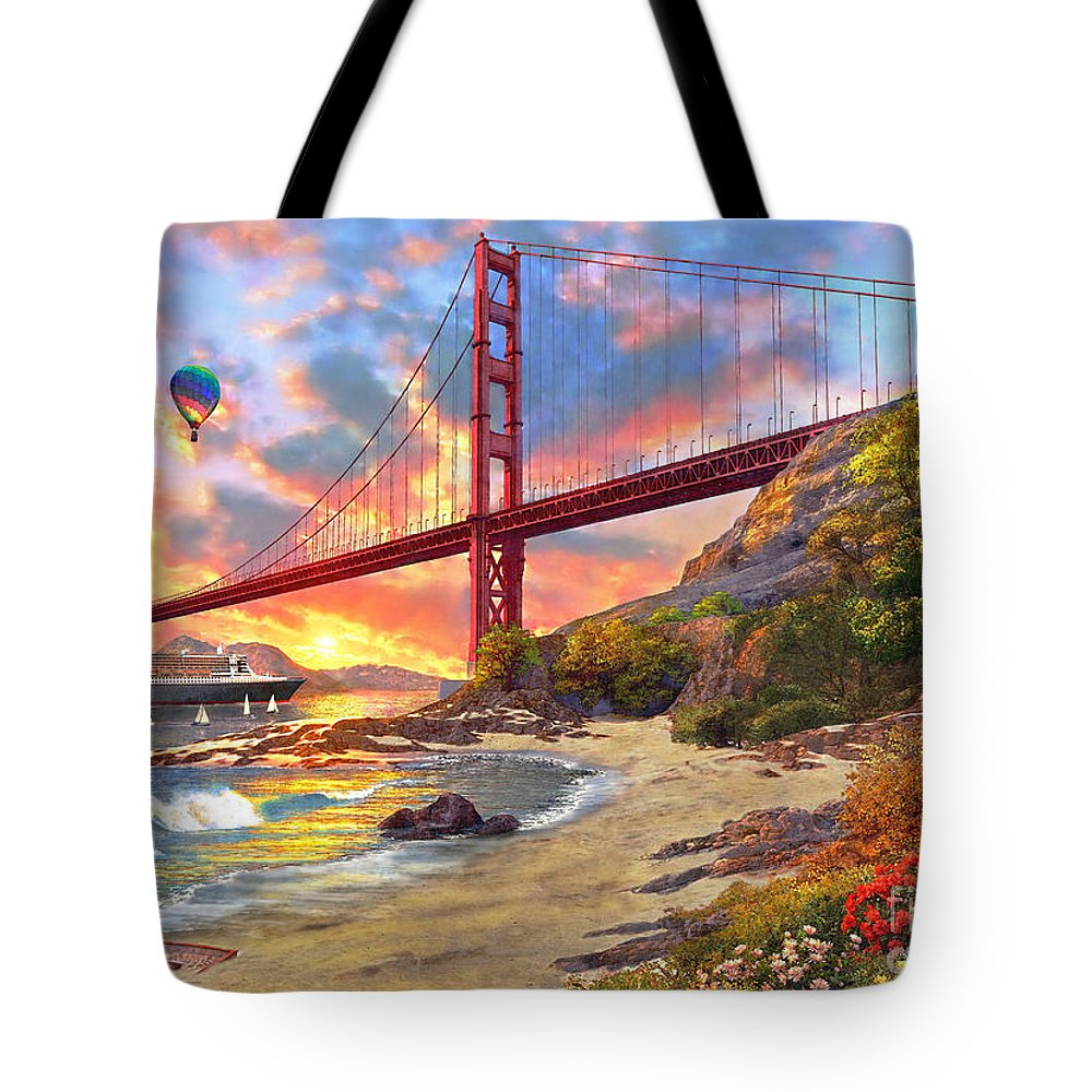 Golden Gate Tote Bag featuring the digital art Sunset At Golden Gate by MGL Meiklejohn Graphics Licensing