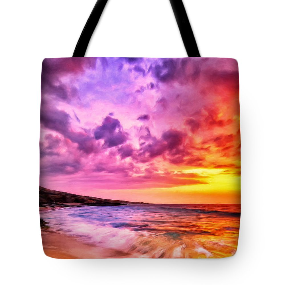 Hawaii Tote Bag featuring the painting Sunset At Manini'owali Beach by Dominic Piperata