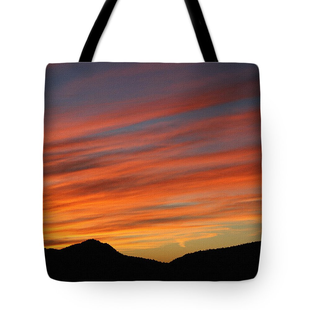 Sun Set At Mt. Ord Tote Bag featuring the photograph Sunset At Mt. Ord by Tom Janca