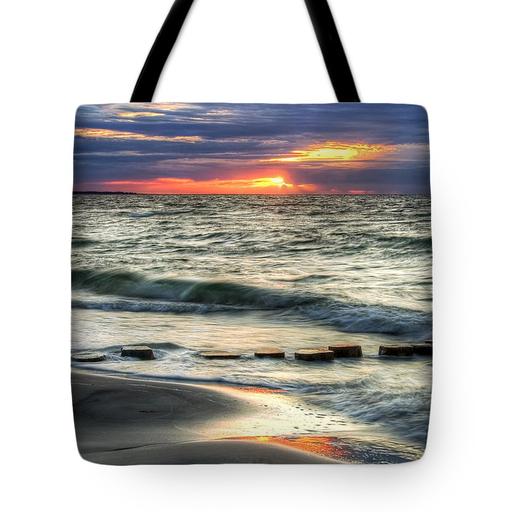 Tote Bag featuring the pyrography Sunset Beach by Steffen Gierok