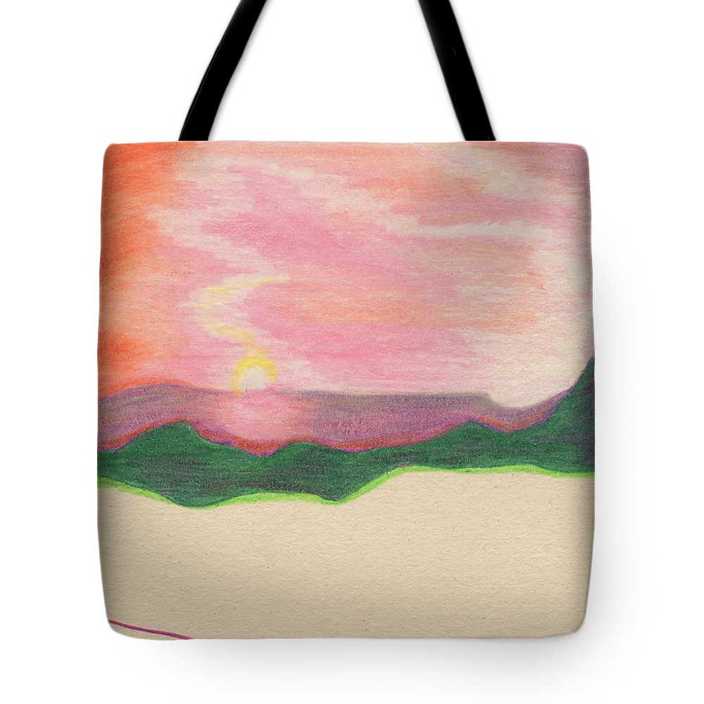 First Star Art Tote Bag featuring the drawing Sunset By Jrr by First Star Art