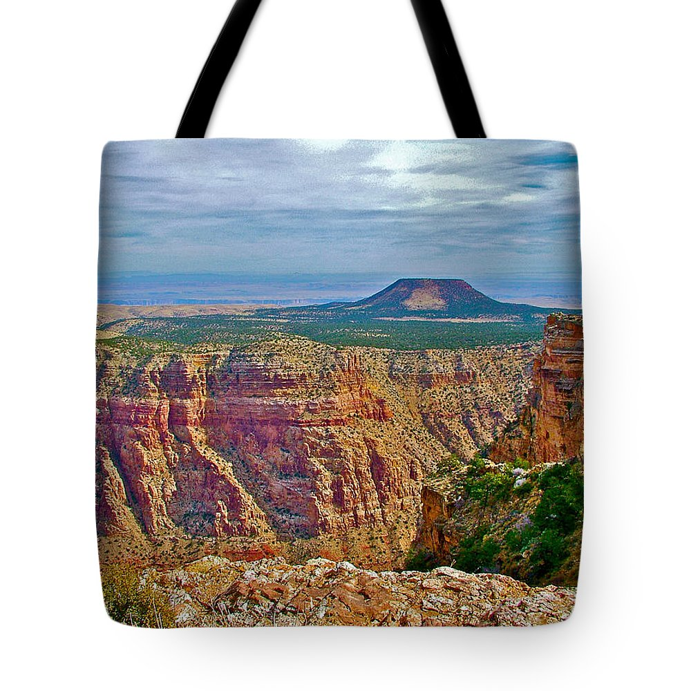 Sunset Crater View From Desert View On East Side Of South Rim Grand Canyon National Park Tote Bag featuring the photograph Sunset Crater View From Desert View On East Side Of South Rim Grand Canyon National Park-arizona by Ruth Hager