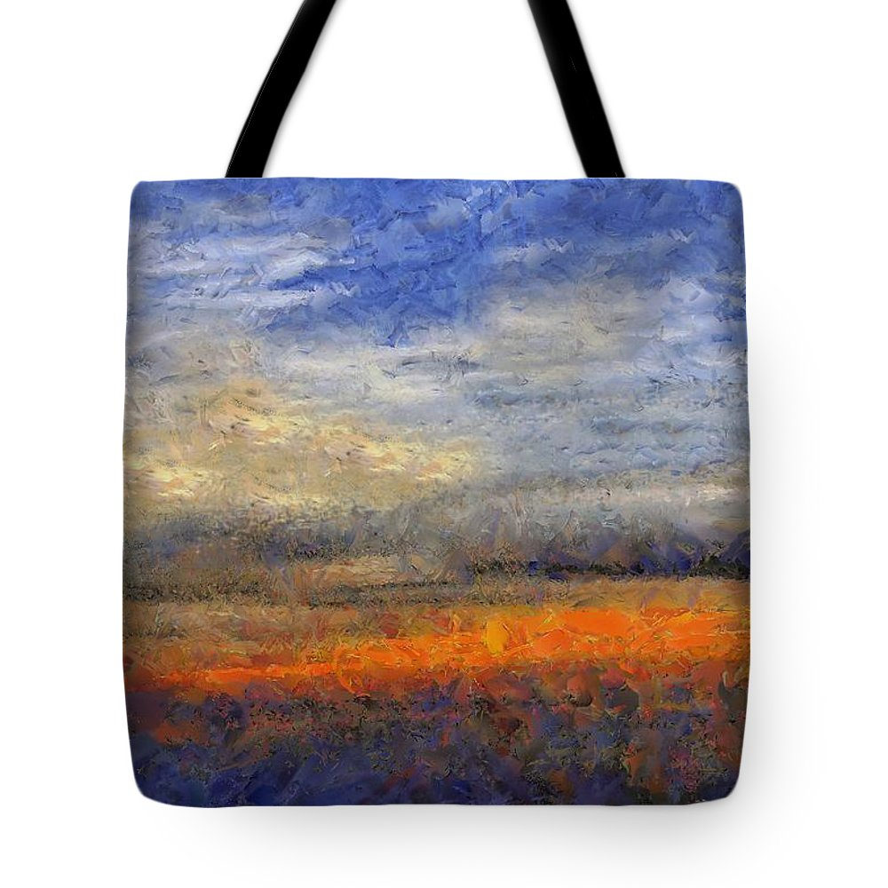 Landscape Tote Bag featuring the painting Sunset Field by RC DeWinter