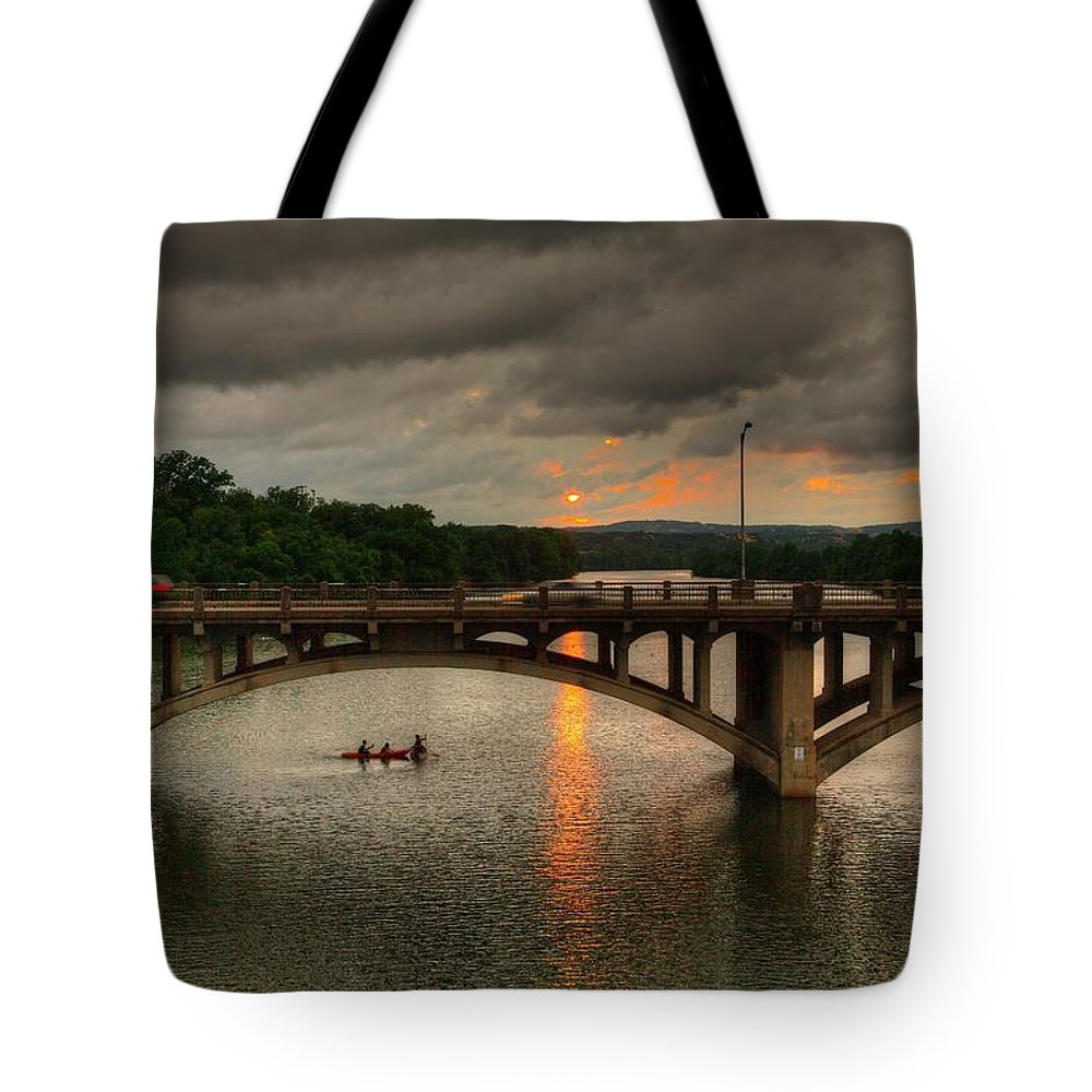 Austin Tote Bag featuring the photograph Sunset Fighting Through by Dave Files