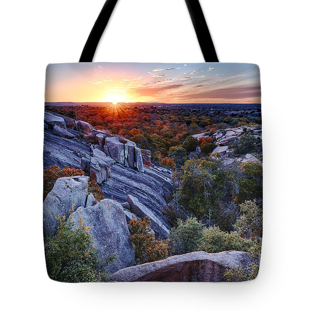 Enchanted Tote Bag featuring the photograph Sunset From The Top Of Little Rock At Enchanted Rock State Park - Fredericksburg Texas Hill Country by Silvio Ligutti
