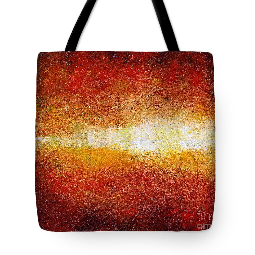 Abstract Tote Bag featuring the painting Sunset Glow by Teresa Wegrzyn