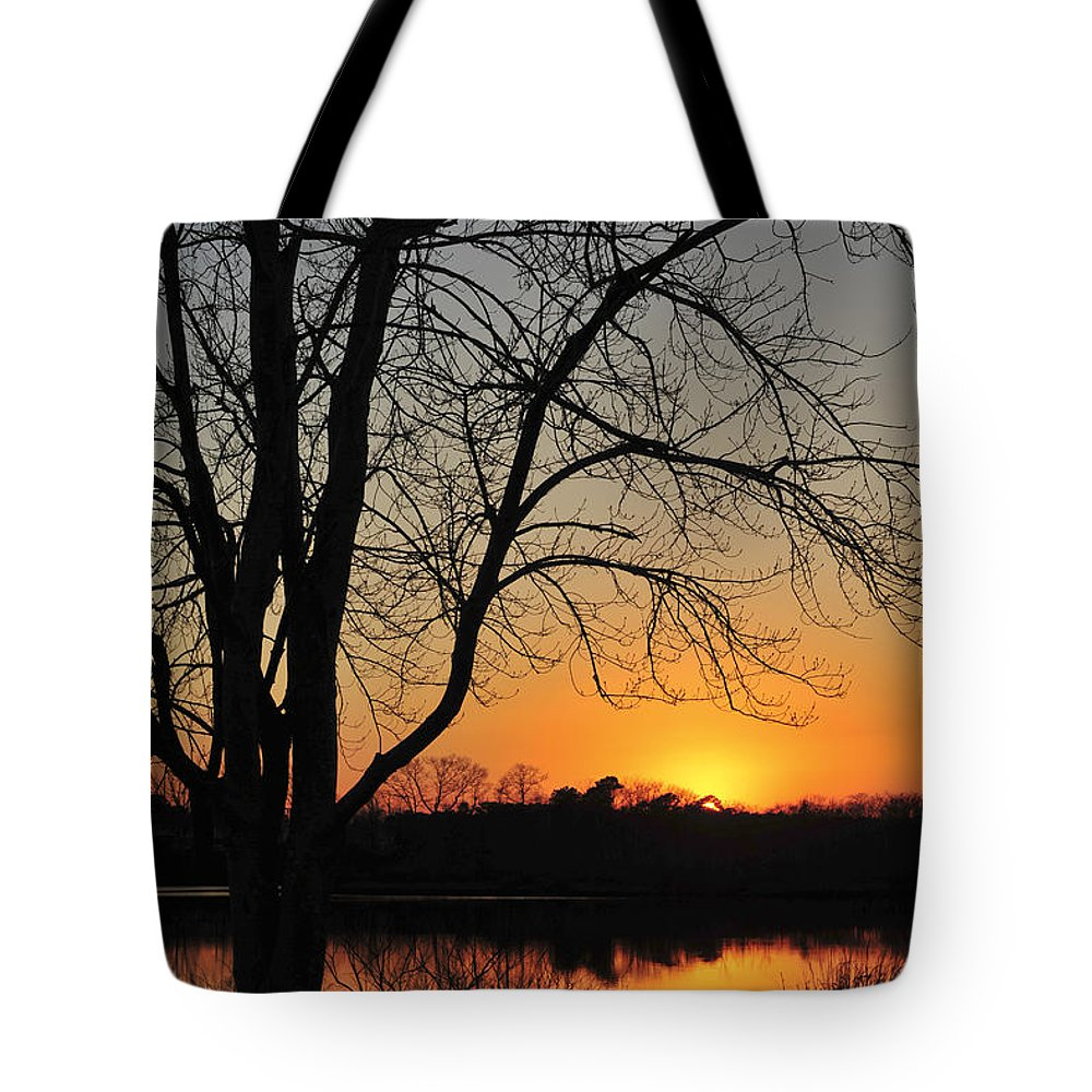 Sunset Glow Tote Bag featuring the photograph Sunset Glow Toms River New Jersey by Terry DeLuco