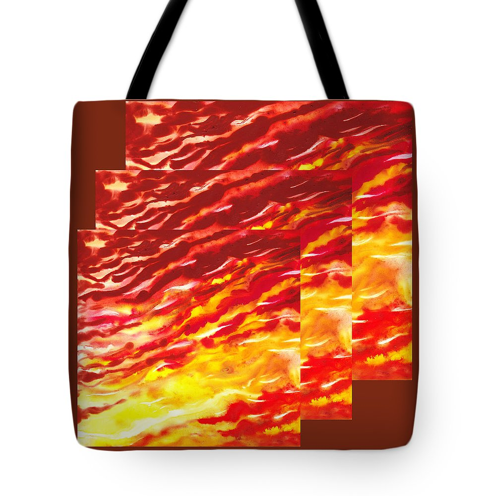 Abstract Tote Bag featuring the painting Sunset In Desert Abstract Collage by Irina Sztukowski