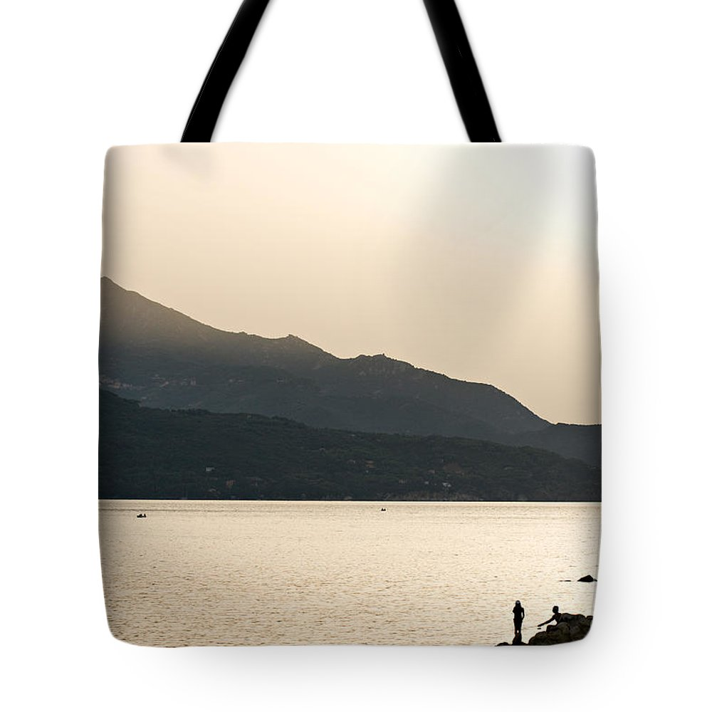 Boat Tote Bag featuring the photograph Sunset In Elba Island - Italy by Luciano Mortula