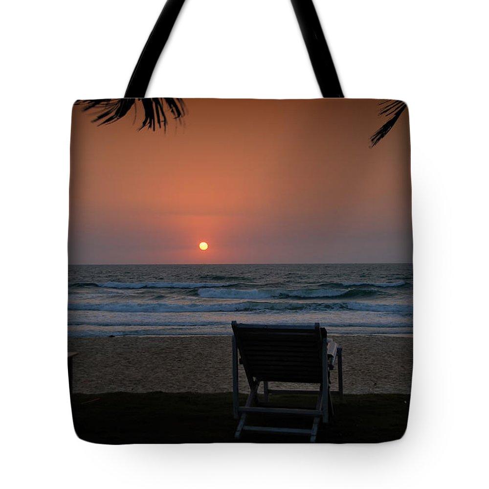 Arabian Sea Tote Bag featuring the digital art Sunset In Goa by Carol Ailles