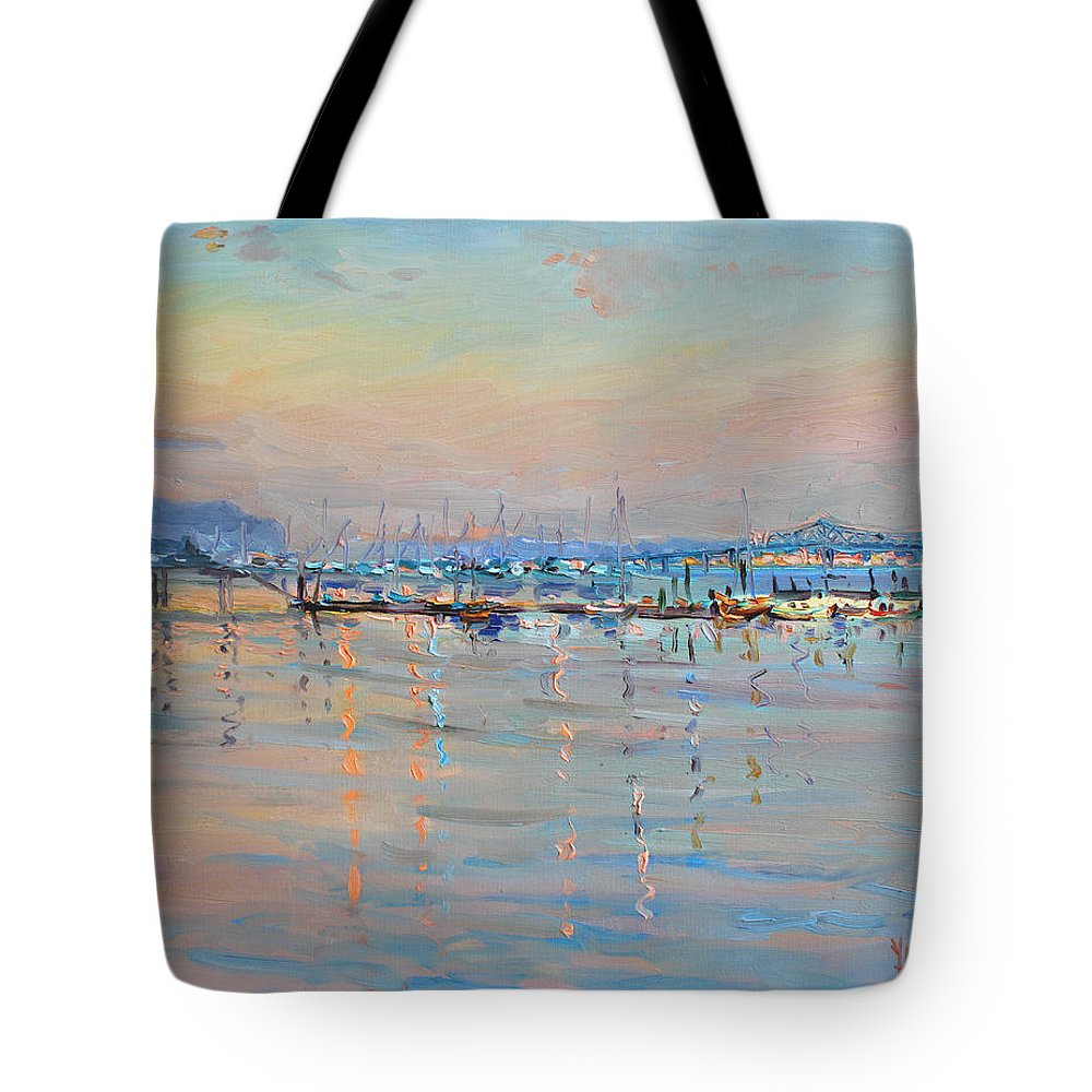 Seascape Tote Bag featuring the painting Sunset In Piermont Harbor Ny by Ylli Haruni