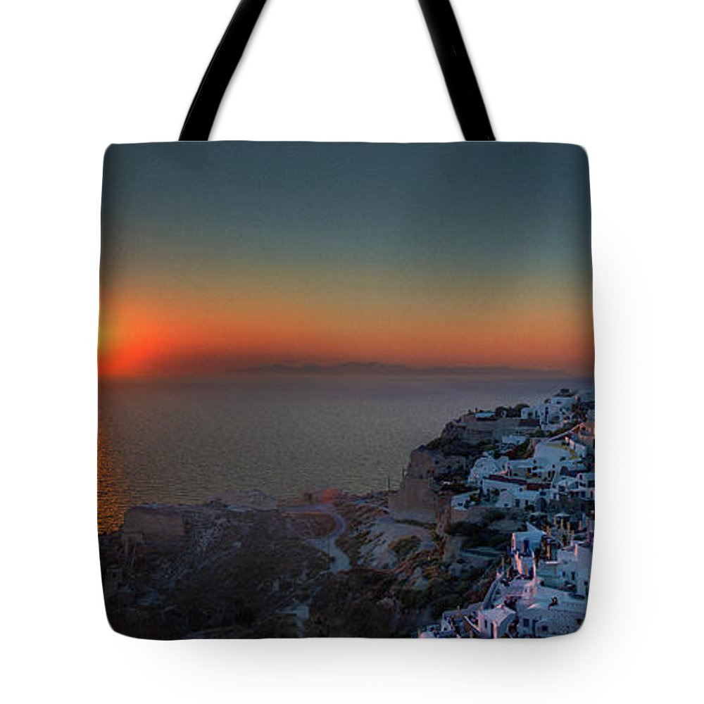 Tranquility Tote Bag featuring the photograph Sunset In Santorini, Greece by Ed Freeman