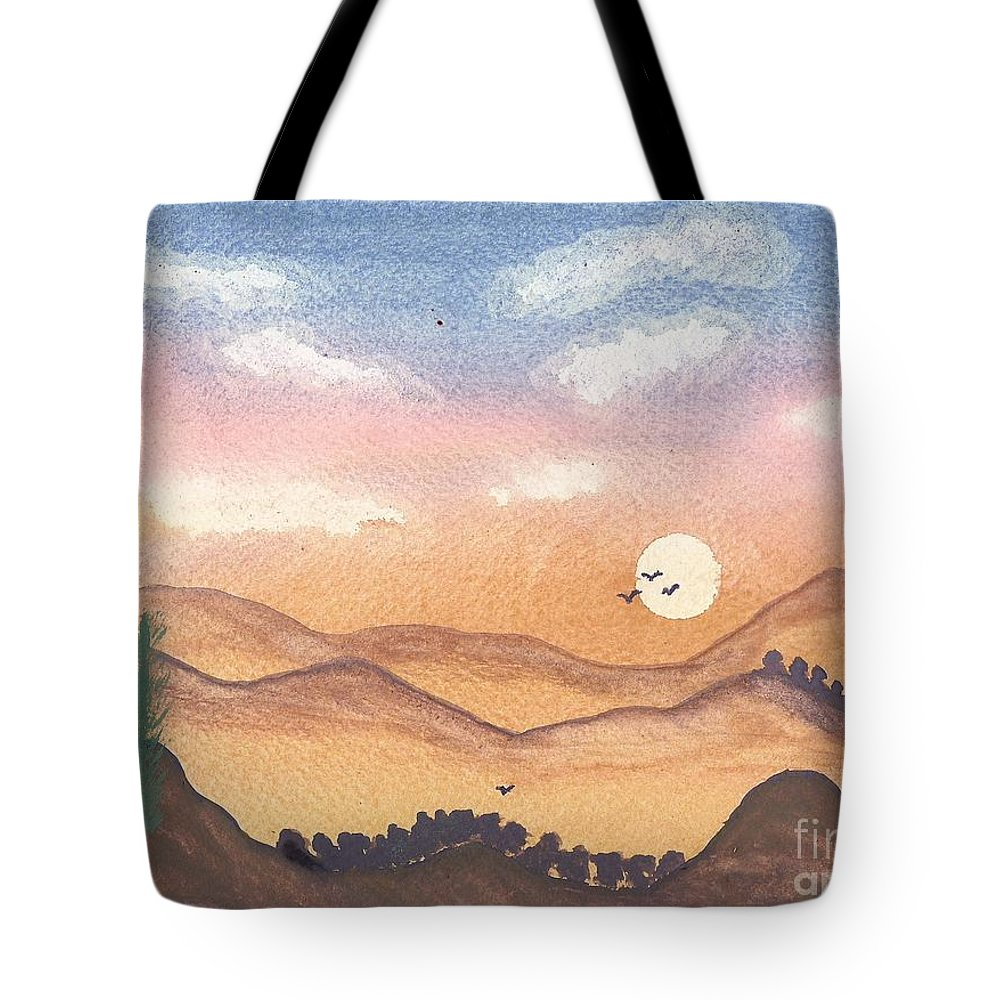 Sunset Tote Bag featuring the painting Sunset In The Hills by John Williams