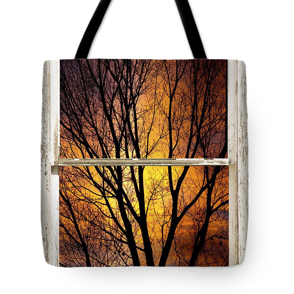 Window Tote Bag featuring the photograph Sunset Into The Night Window View 3 by James BO Insogna