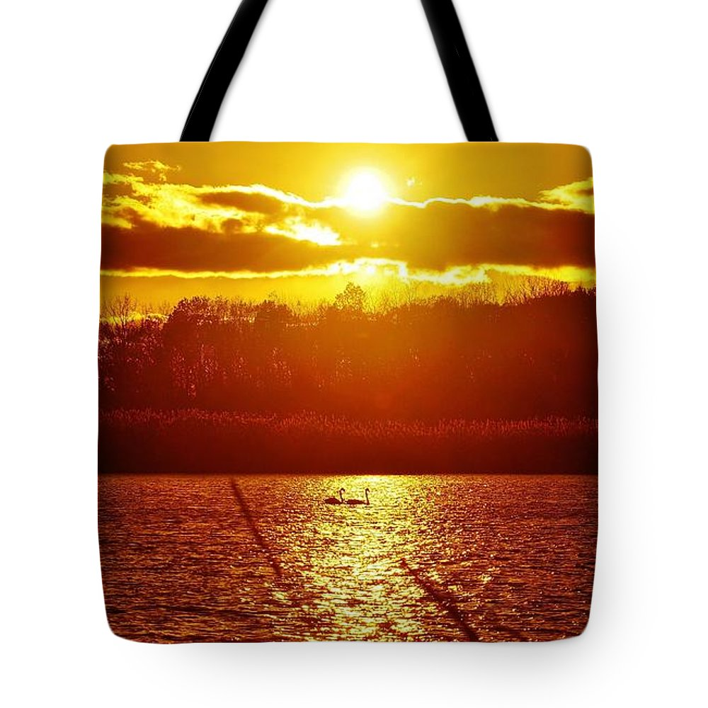 Swan Tote Bag featuring the photograph Sunset Love At Crosswinds by Daniel Thompson