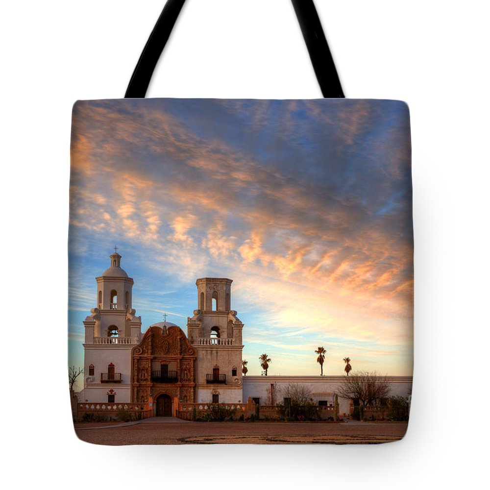 San Xavier Del Bac Mission Tote Bag featuring the photograph Sunset Majesty Mission San Xavier Del Bac by Bob Christopher
