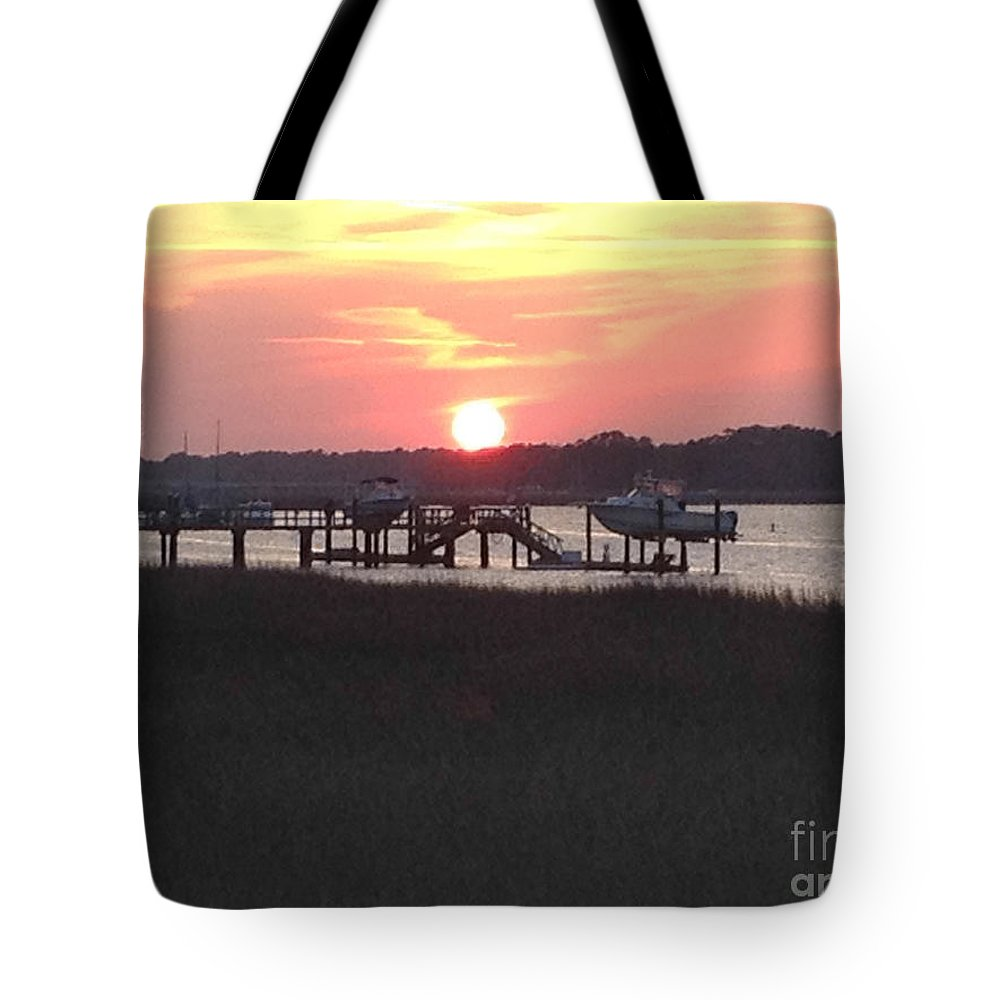 Broad Creek Tote Bag featuring the photograph Sunset On Broad Creek II by Thomas Marchessault