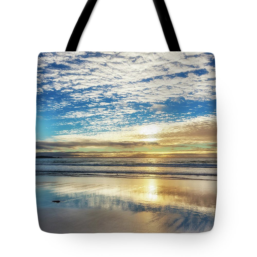 Tranquility Tote Bag featuring the photograph Sunset On Carmel Beach, California by Alvis Upitis