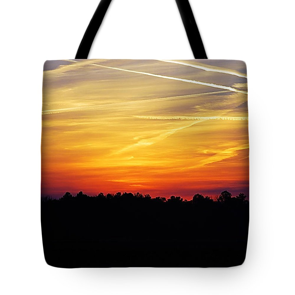 Sunrise Tote Bag featuring the photograph Sunset On Fire by Francie Davis