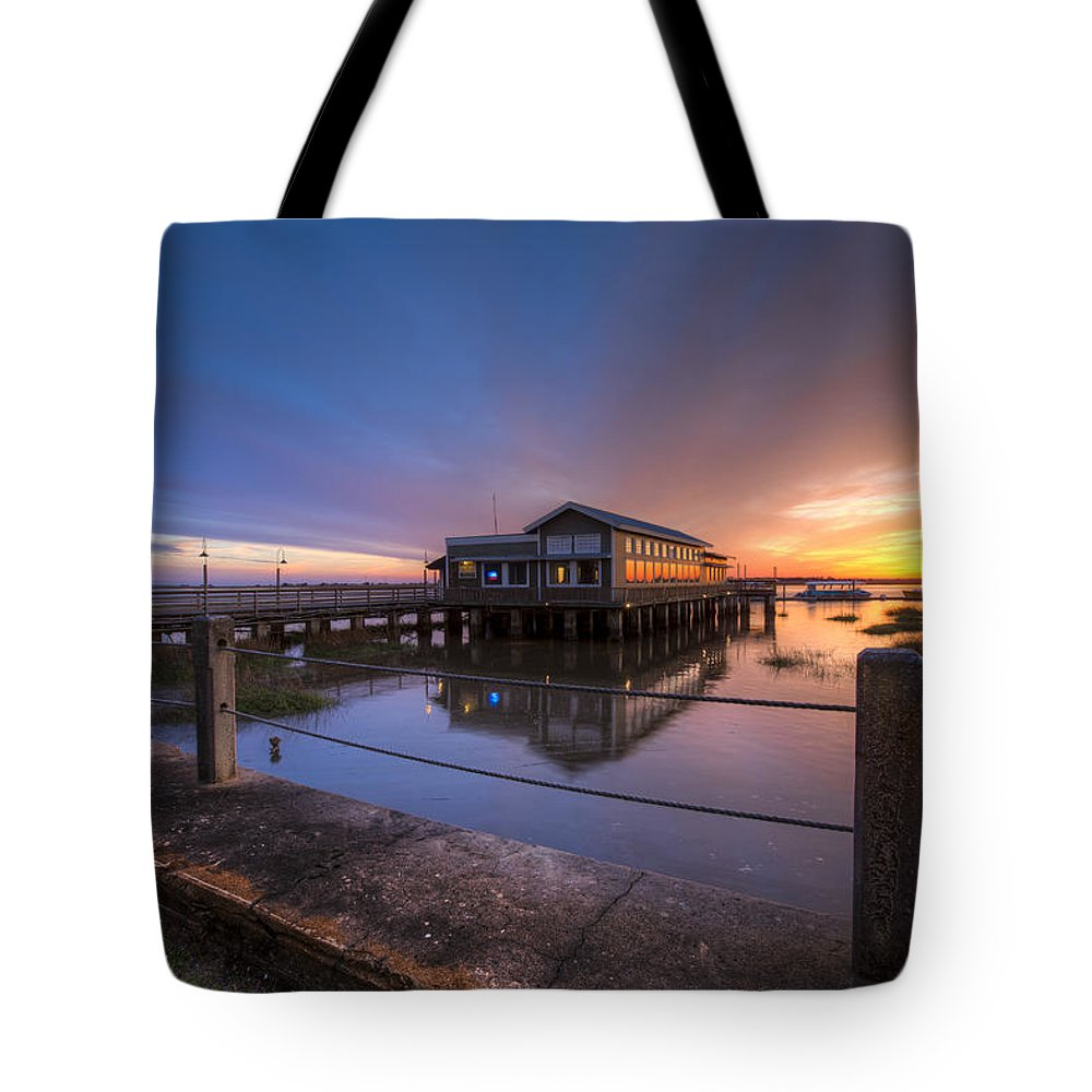 Boats Tote Bag featuring the photograph Sunset On Jekyll Island by Debra and Dave Vanderlaan