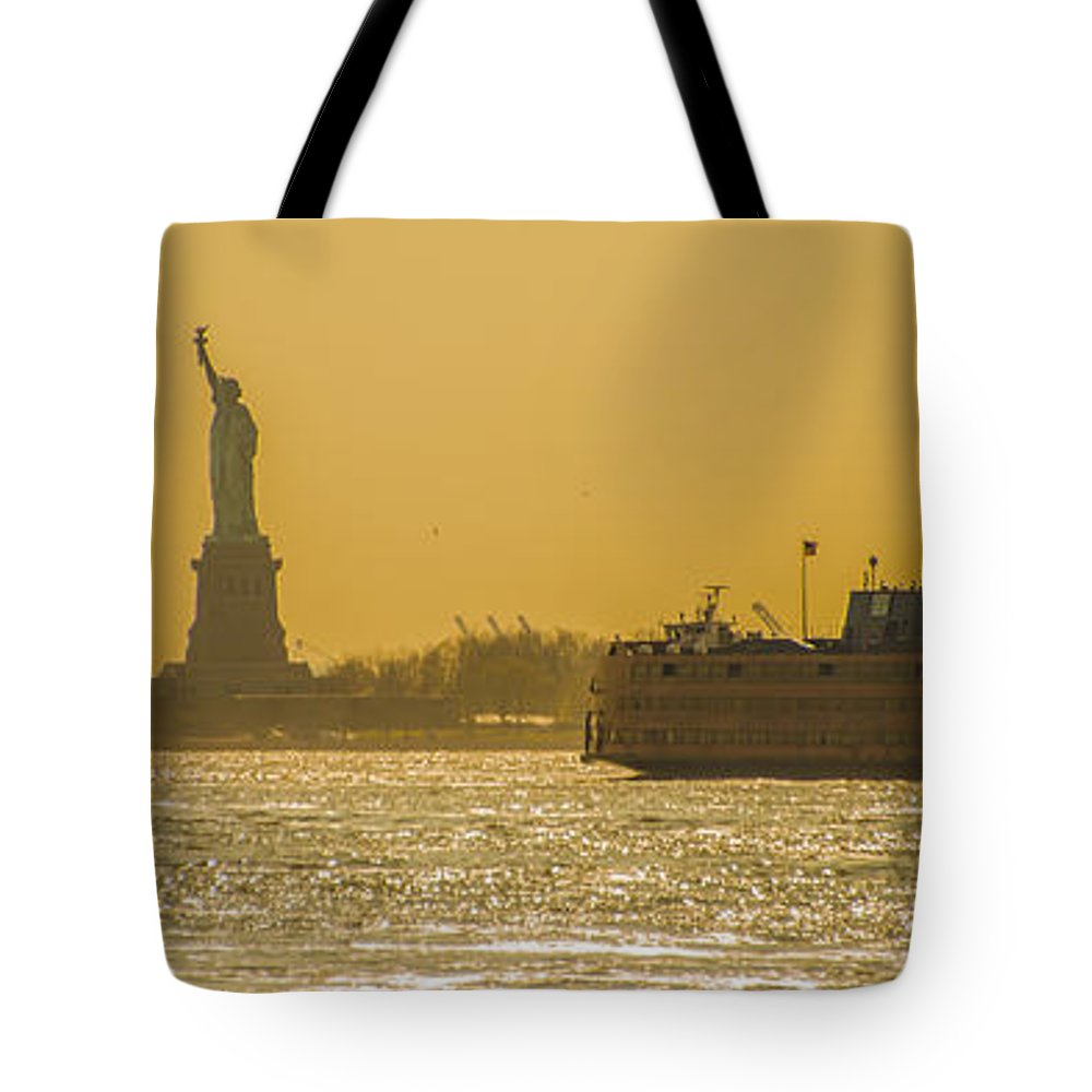 Landscape Tote Bag featuring the photograph Sunset On Ny Harbor by Theodore Jones