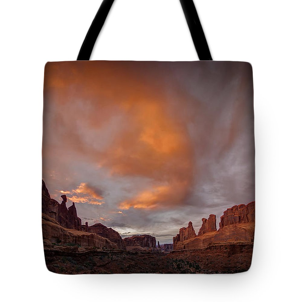Arches National Park Tote Bag featuring the photograph Sunset on Park Avenue by Jeff Burton