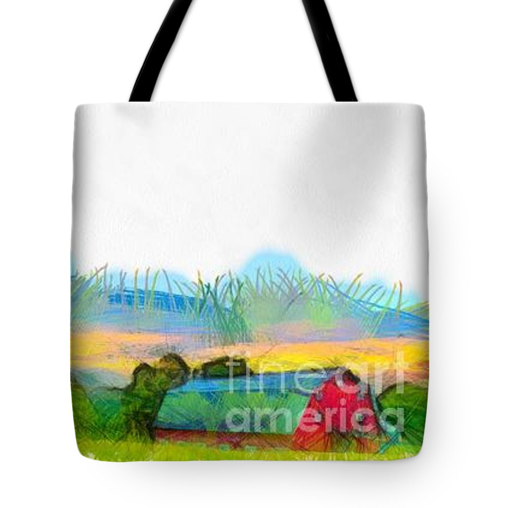 Etna Tote Bag featuring the photograph Sunset On The Farm Pencil by Edward Fielding