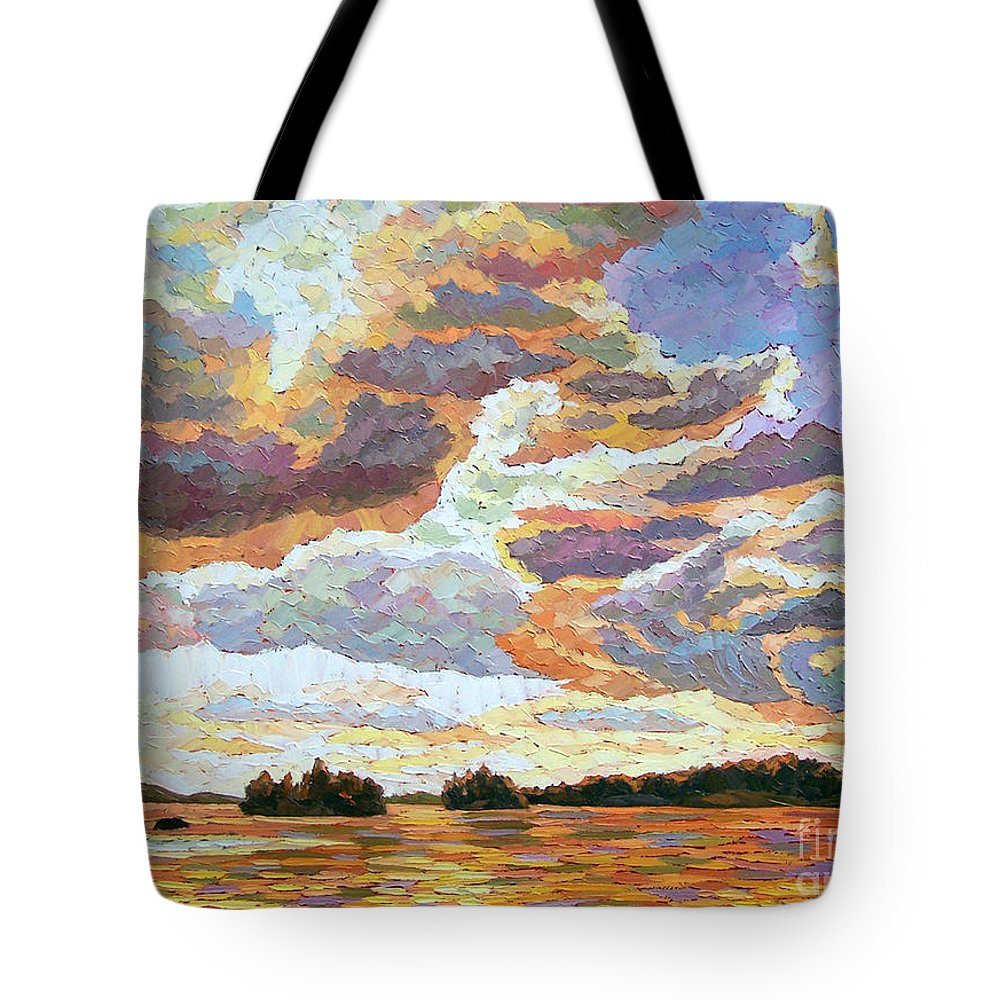 Landscape Tote Bag featuring the painting Sunset On The Lake by Elizabeth Elkin