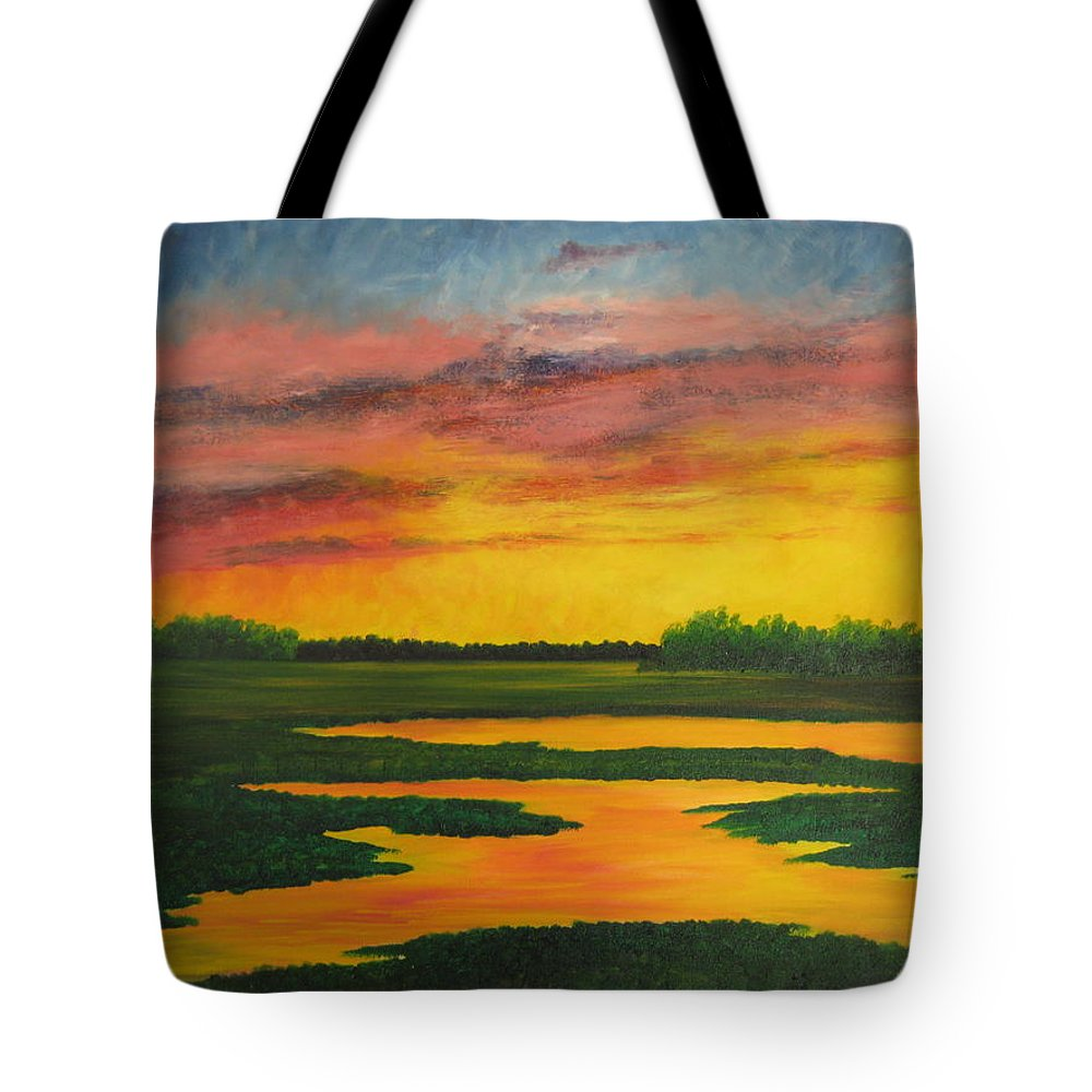 Water Tote Bag featuring the painting Sunset On The Marsh by Darla Brock
