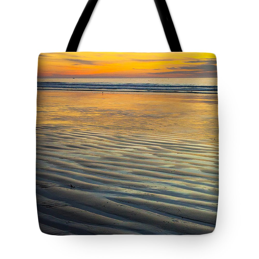 Sunset Morrow Bay Prints Tote Bag featuring the photograph Sunset On Wet Sandy Beach Seascape Fine Art Photography Print by Jerry Cowart