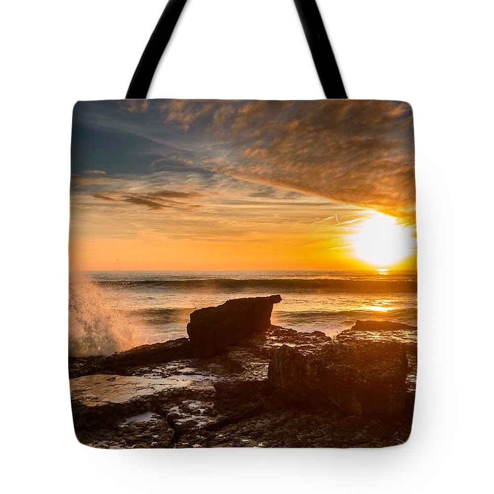 Sea Tote Bag featuring the photograph Sunset Over A Rough Sea I by Marco Oliveira