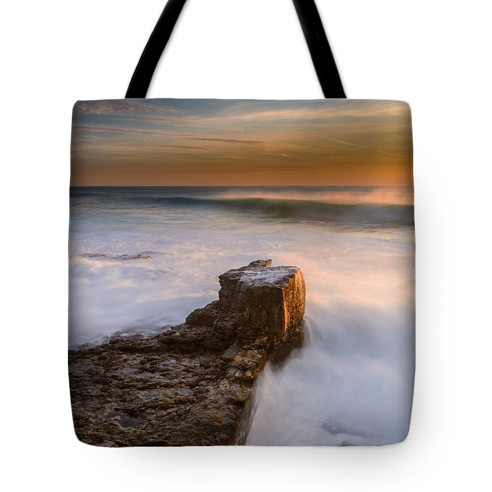 Sea Tote Bag featuring the photograph Sunset Over A Rough Sea II by Marco Oliveira
