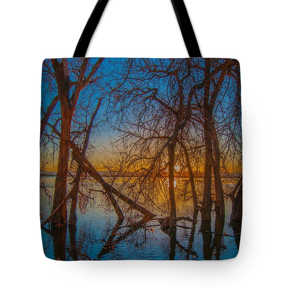 Brighton Tote Bag featuring the photograph Sunset Over Barr Lake_2 by Tom Potter