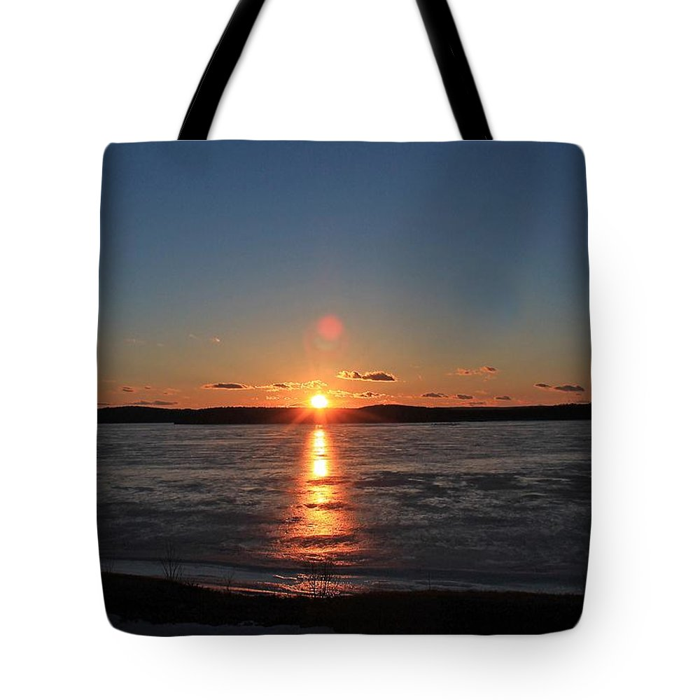 Wachusett Reservoir Tote Bag featuring the photograph Sunset Over Frozen Wachusett Reservoir 2 by Michael Saunders