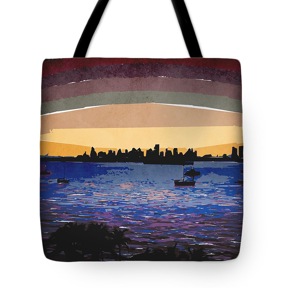 Sunset Tote Bag featuring the digital art Sunset Over Miami by Phil Perkins