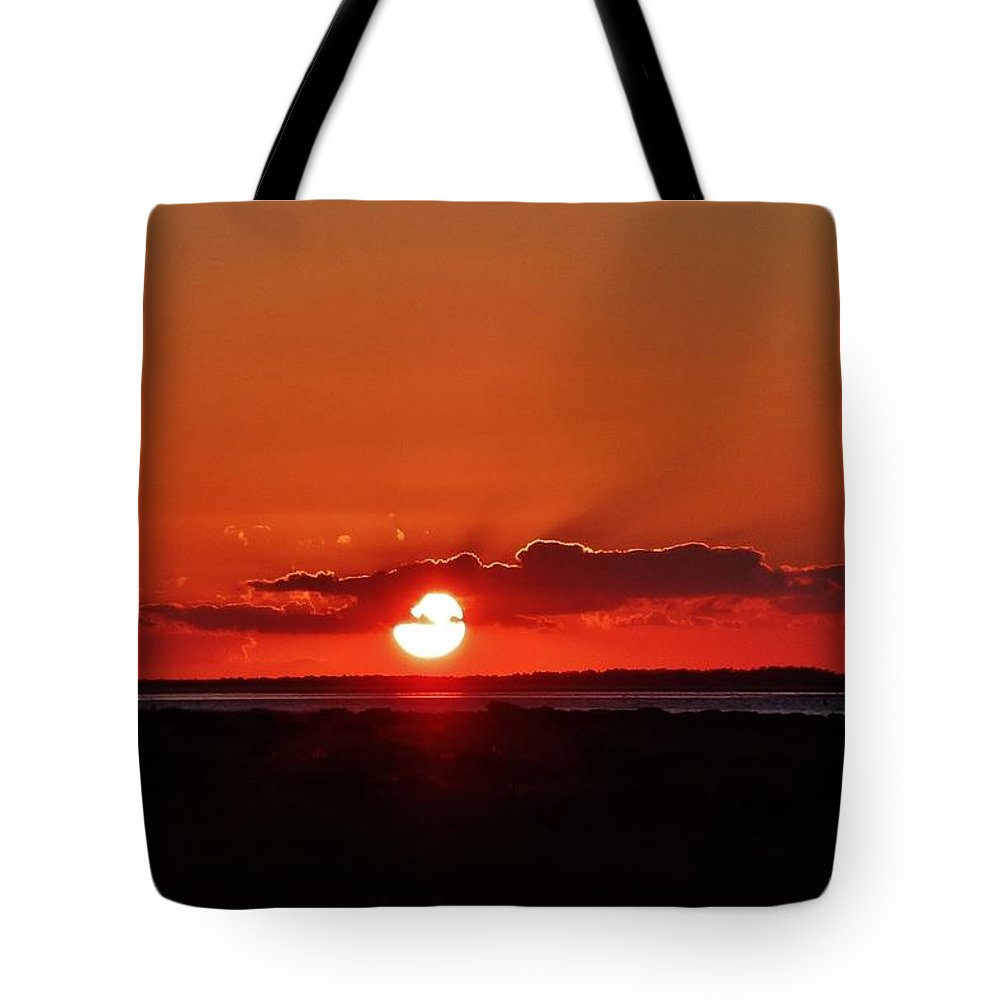 Ocracoke Island Tote Bag featuring the photograph Sunset Over Ocracoke Island by Holly Dwyer