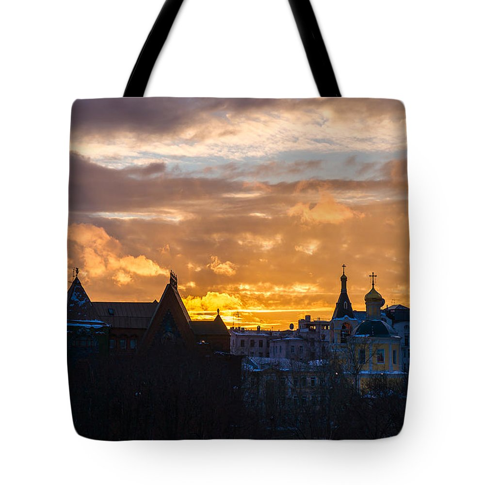 Russia Tote Bag featuring the photograph Sunset Over Old Moscow - Featured 2 by Alexander Senin