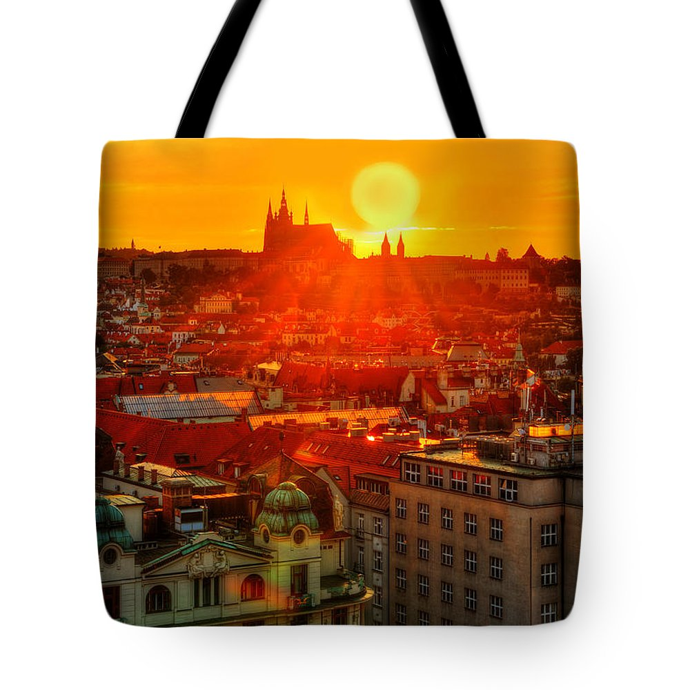 Prague Tote Bag featuring the photograph Sunset Over Prague by Midori Chan