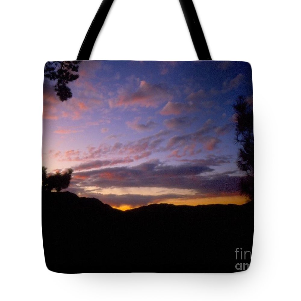 Sunset Tote Bag featuring the photograph Sunset Over The Hills by Jussta Jussta
