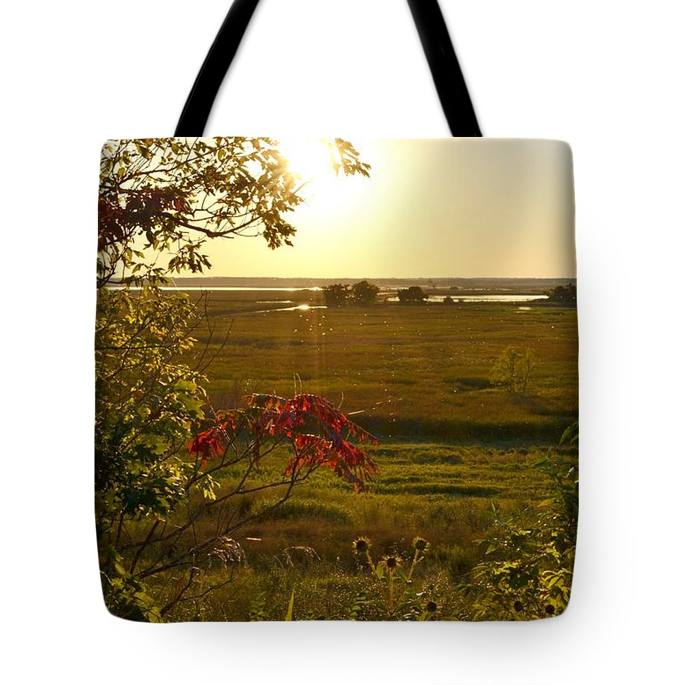 Marsh Tote Bag featuring the photograph Sunset Over The Marsh by Mandy Frank