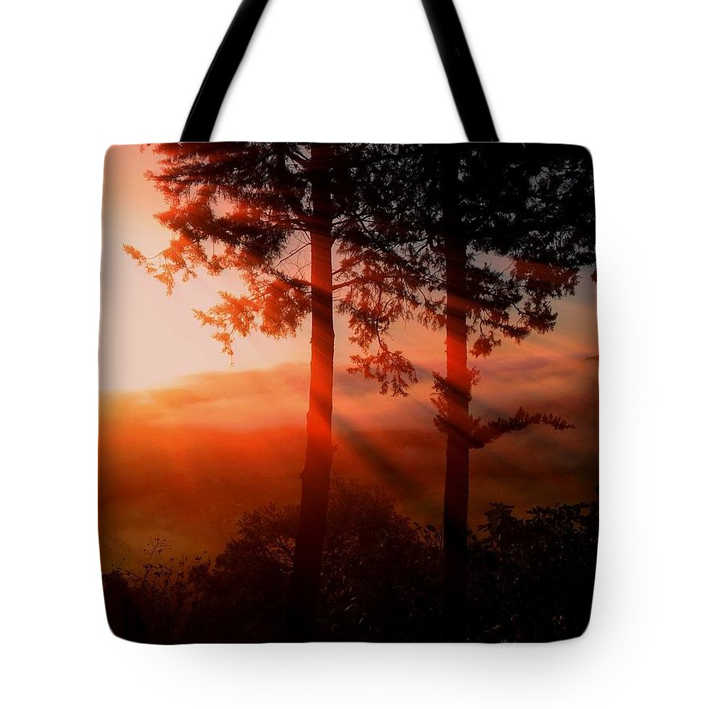 Sunset Digital Art Paintings Tote Bag featuring the photograph Sunset Over The Valley by Nikki Keep