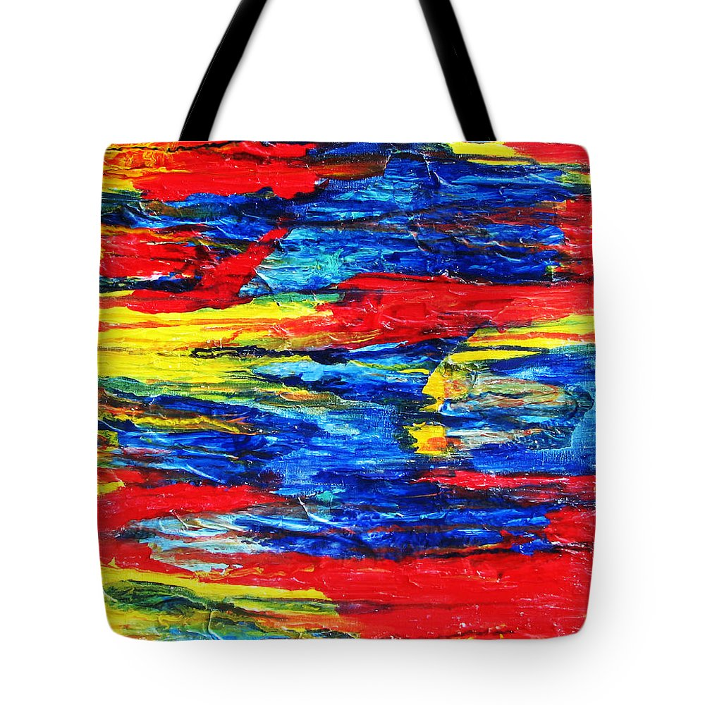 Abstract Tote Bag featuring the painting Sunset Over Troubled Waters by Stephanie Grant