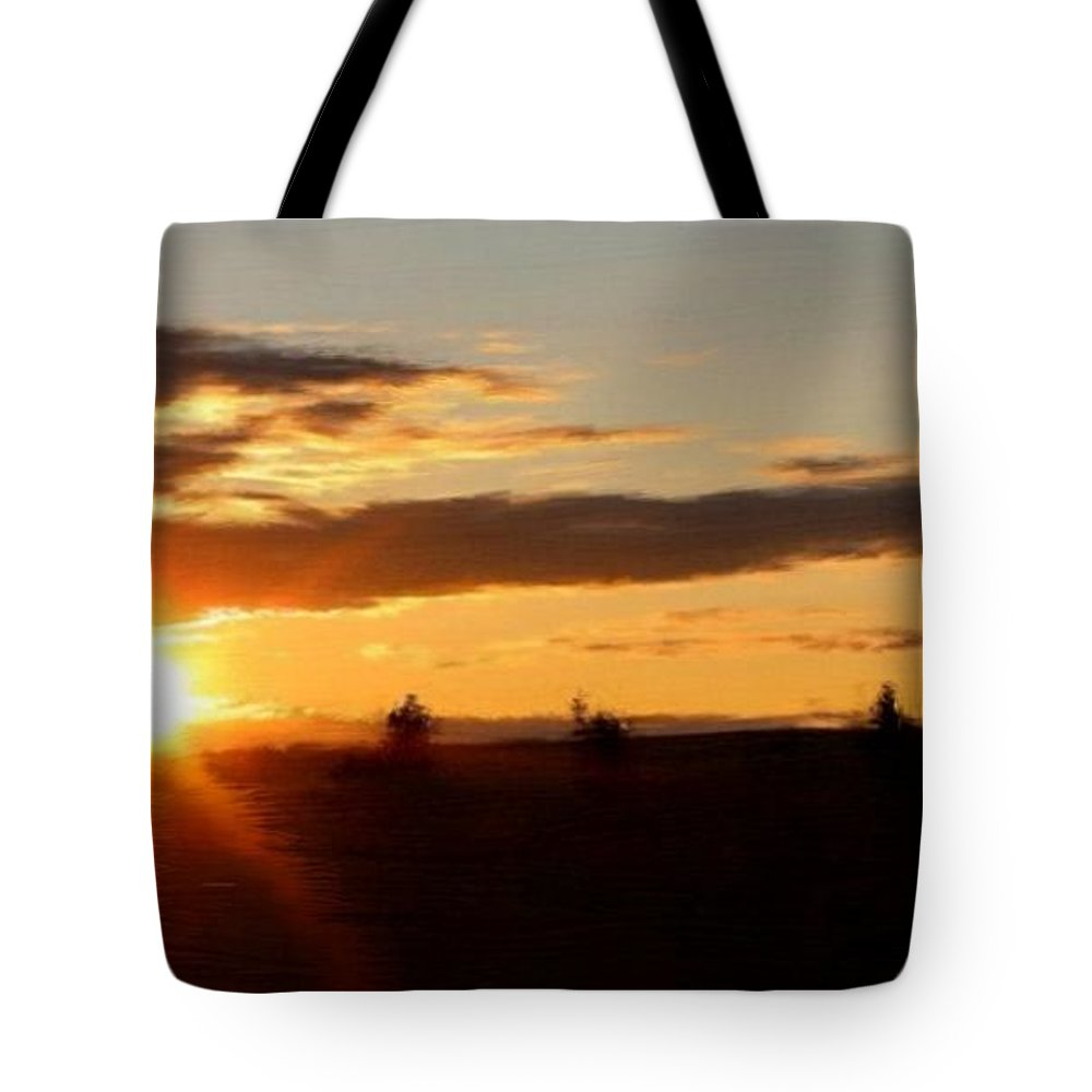 Sunset Tote Bag featuring the painting Sunset Panorama by Bruce Nutting