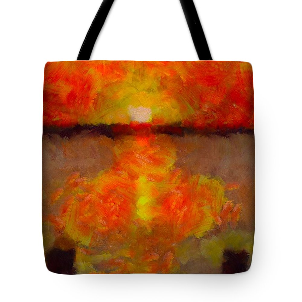 Sunset Reflections On The Dock Tote Bag featuring the painting Sunset Reflections On The Dock by Dan Sproul