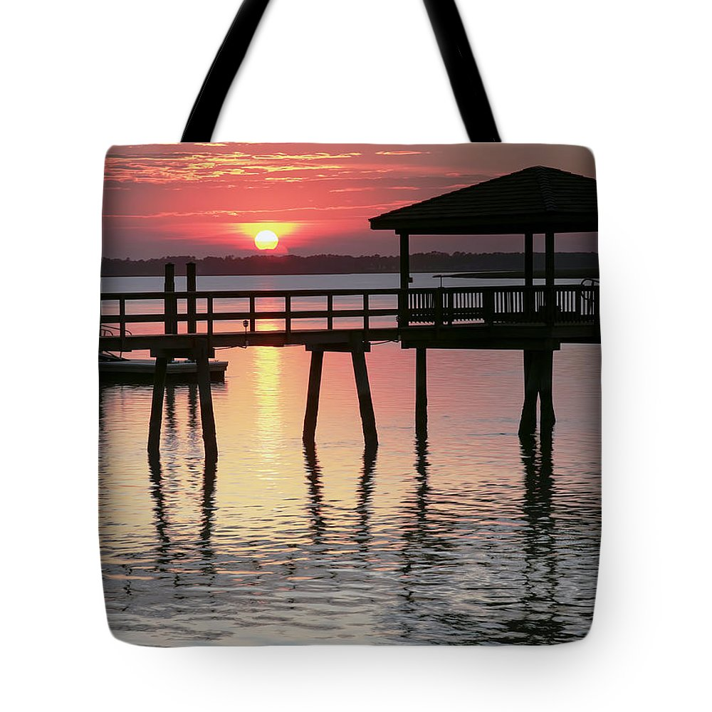 Sunset Tote Bag featuring the photograph Sunset Reflections by Phill Doherty