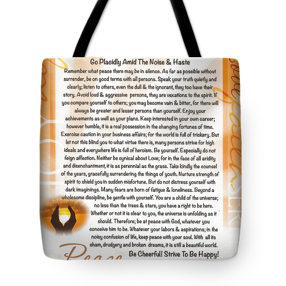 Desiderata Tote Bag featuring the drawing Sunset Serenity Desiderata Poster by Desiderata Gallery