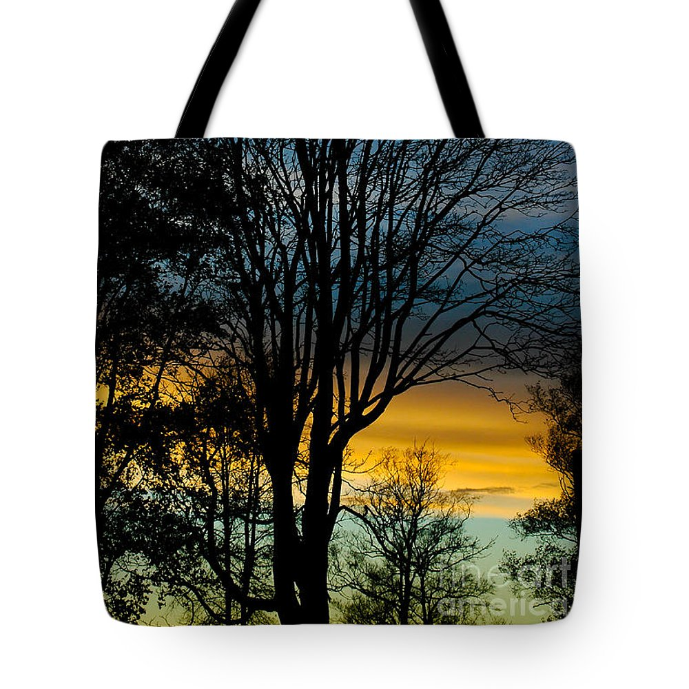 Clouds Tote Bag featuring the photograph Sunset Silhouette by Venetta Archer