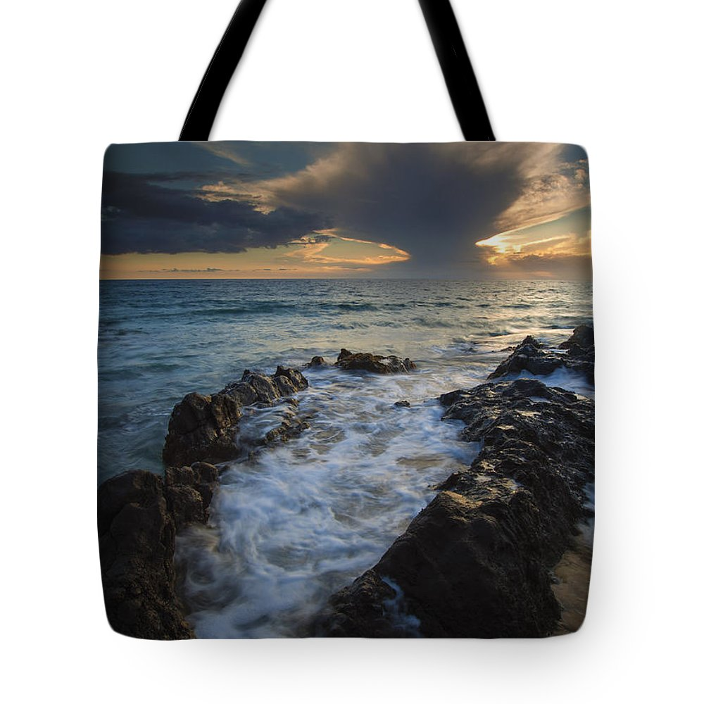 Kihei Tote Bag featuring the photograph Sunset Spillway by Mike Dawson