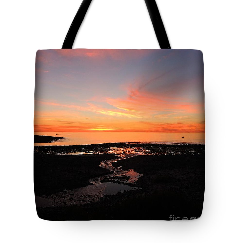 Blue Pink Black Orange Stream Row Boat Ocean Sea Sky Water Landscape Seascape Photo Serene Peaceful Cove Australia Tote Bag featuring the photograph Field River, Hallett Cove by Linda Hollis